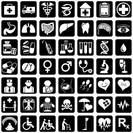 handicapped: set of vector icons for medical theme