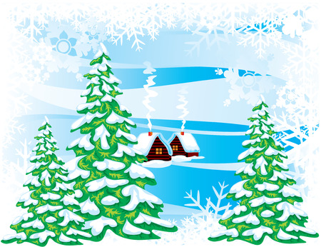 fabulous: Fabulous winter landscape. Vector image. Illustration