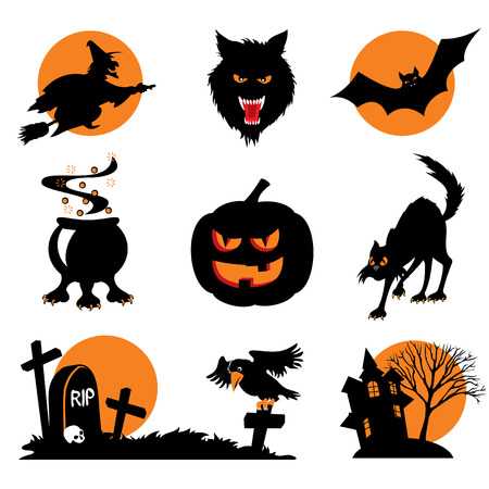 Set of images. Two-color icons of Halloween Vector