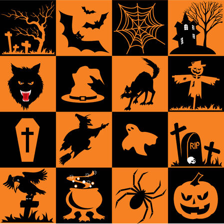 Set of  icons. Images for Halloween Vector