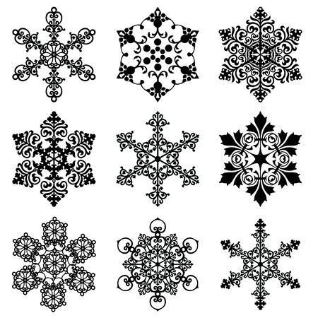 large group of objects: set of  silhouette snowflakes in the style of the ornament Illustration