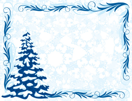 Winter background with Christmas tree and frost patterns. Frame for congratulations.