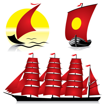 set of  images of sailing ships Vector
