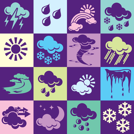 phenomena: Seamless  background with colorful symbols of weather and natural phenomena. Alternation of light and dark cells