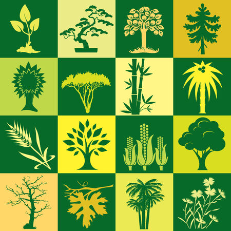 corn flower: Seamless  background with colorful symbols of plants and trees. Alternation of light and dark cells