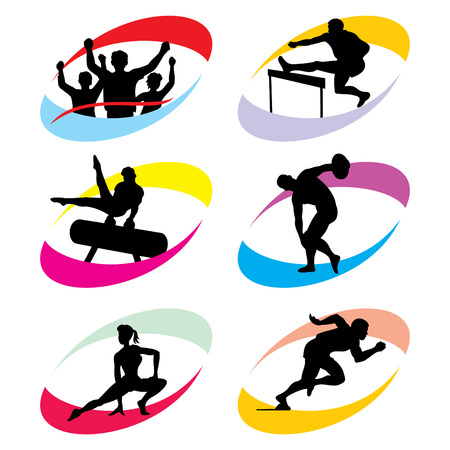 competitive sport: set of silhouette icons of the sport and the Olympic Games