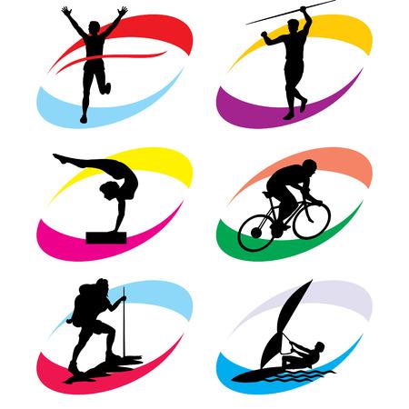 lanzamiento de disco: conjunto de iconos de la silueta de este deporte y los Juegos Ol�mpicos