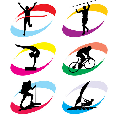 running woman: set of  silhouette icons of the sport and the sports competition Games Illustration