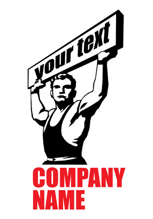 is masculine: stencil  image of a strong man with a placard. Can be used as a logotype