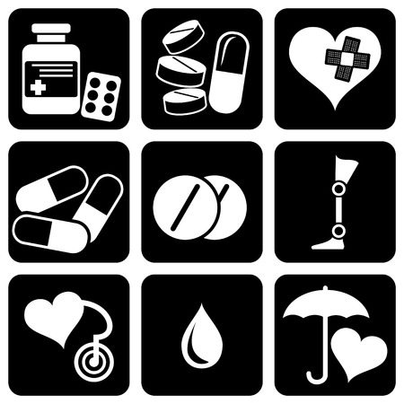 Medication: set of  icons to medical theme