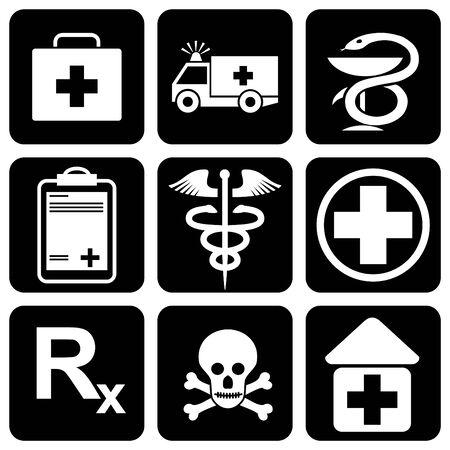 ambulancia: conjunto de iconos para tema m�dico
