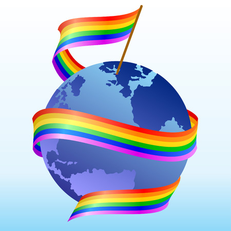 maps globes and flags: Flag of rainbow around the globe