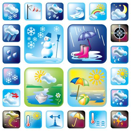 estaciones del a�o: conjunto de s�mbolos meteorol�gicos y temporada