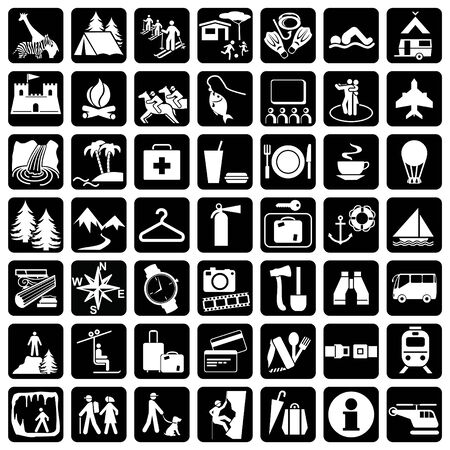 Items and signs for travel and leisure Illustration