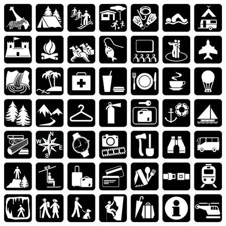 Items en borden voor reizen en vrije tijd
