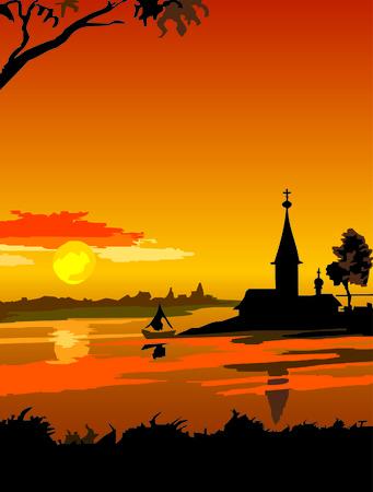 kremlin: landschap Russische Noorden zons ondergang  Stock Illustratie