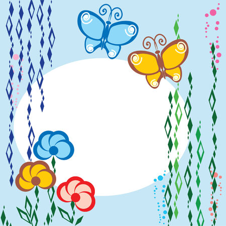 background on flowers and butterflies theme Stock Vector - 8173254
