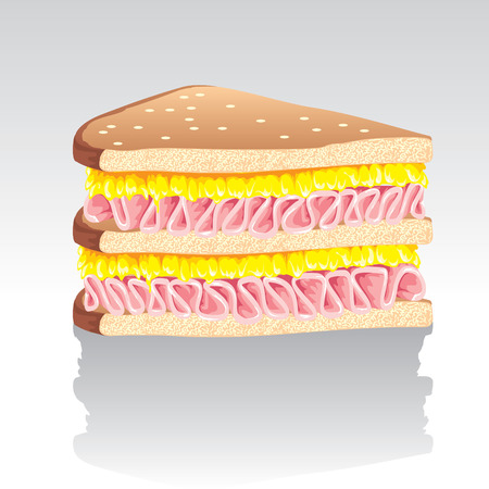 ham and cheese:   Lonely sandwich is on a brilliant surface
