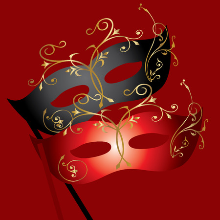 carnival costume:   image of two theatrical masks on burgundy background Illustration