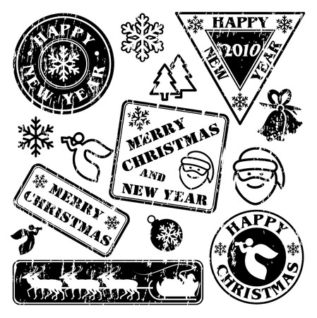 set of postal stamps. Christmas and New Year Illustration