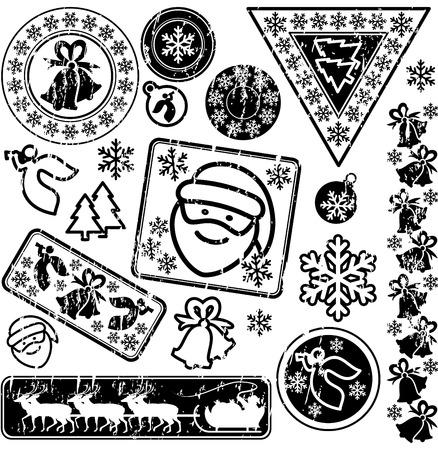 conjunto de sellos postales. Navidad y año nuevo