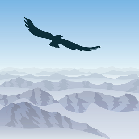 lone eagle soars over the mountain landscape Stock Vector - 8366786