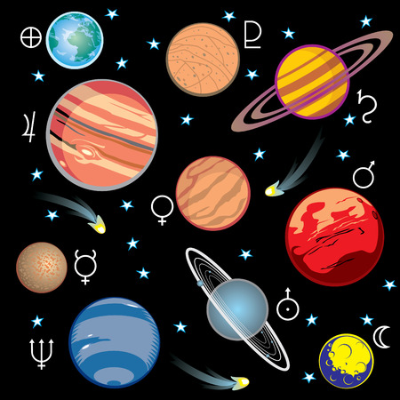 meteor: Sammlung von Vektor-Bilder der Planeten im Sonnensystem mit grafischen Symbolen