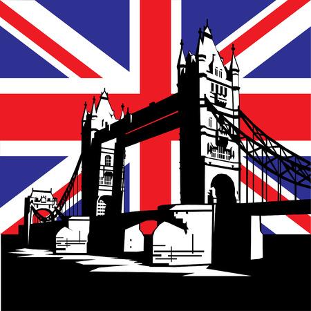 london: vector afbeelding van Britse en Londen symbolen. Famous London Bridge op de achtergrond van de Britse vlag