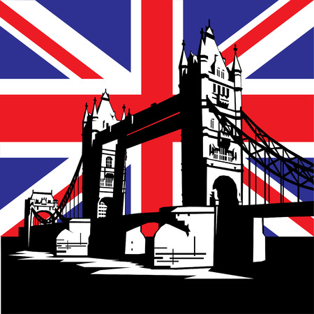 turret: vector image of British and london symbols. Famous London Bridge on the background of the British flag