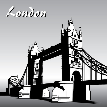 turret: vector image of  london symbols. Famous London Bridge