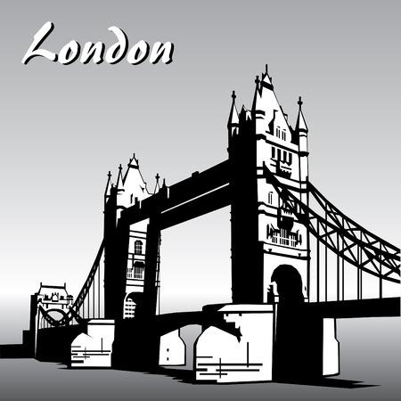 river thames: vector image of  london symbols. Famous London Bridge