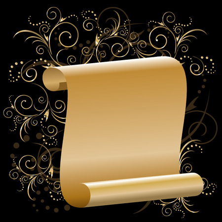 scroll of gold papyrus with floral ornaments on a black background. Stock Vector - 8408966