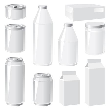 aluminio: conjunto de im�genes vectoriales de contenedores de embalaje Vectores