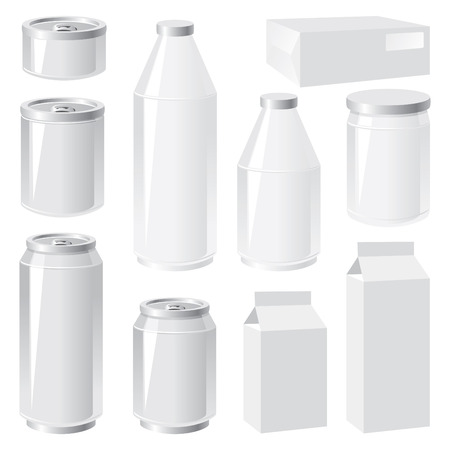 aluminum can: set of vector images of packing containers Illustration