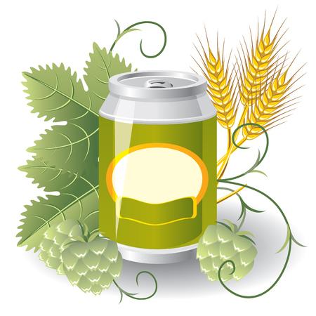 malto d orzo: alluminio pu� di birra circondato da luppolo e frumento. Immagine di vettore Vettoriali