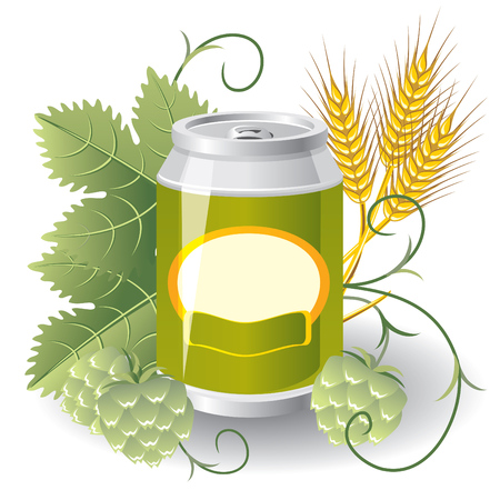 aluminum can of beer surrounded by hops and wheat. vector Image Vector