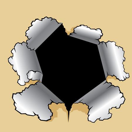 fragmentary: agujero perforado en el cart�n. Las piezas de papel dando vueltas.