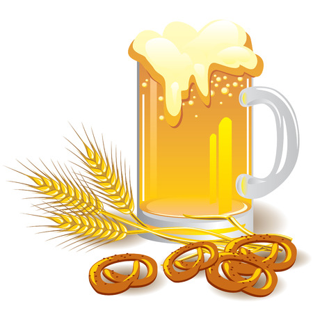 wheaten: vector image of a glass of  beer with wheat and snacks