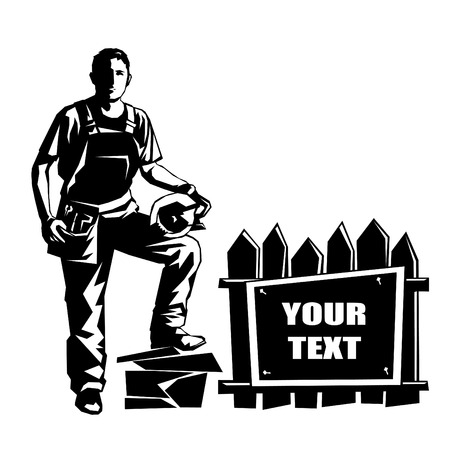 builder logo: stencil vector image builder constructed banner. Can be used as a logotype