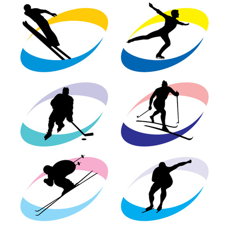 winter sports: set of vector silhouette icons of the winter sport and the sports competition Games Illustration