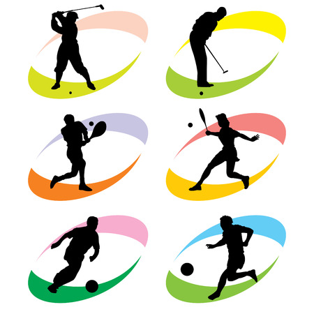 woman golf: set of vector silhouette icons of sports games with the ball