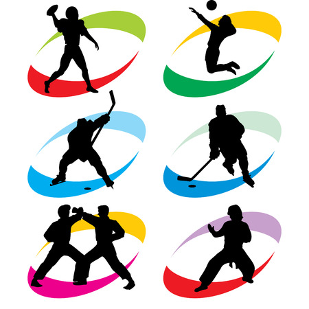 puck: set of vector silhouette icons of the sport and the sports competition Games Illustration