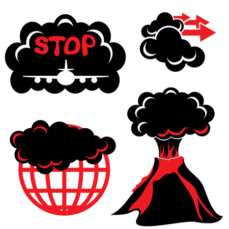 ash cloud: Cloud of volcanic ash. Two-color vector silhouette icons Illustration