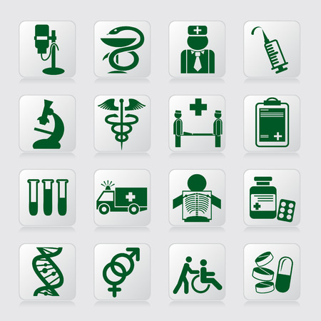 emergency vehicle: set di icone vettoriali di segni e simboli medici Vettoriali