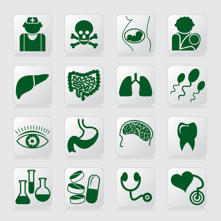 medical symbols: set of vector icons of medical symbols and signs Illustration