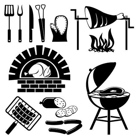 chorizos asados: conjunto de iconos de silueta de vector de barbacoa y cocinar carne