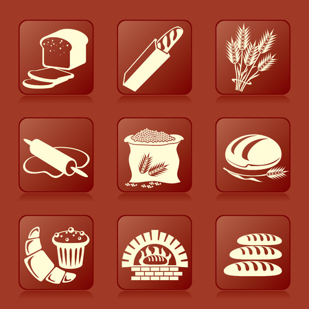 set of vector silhouette icons of bread and pastry Vector