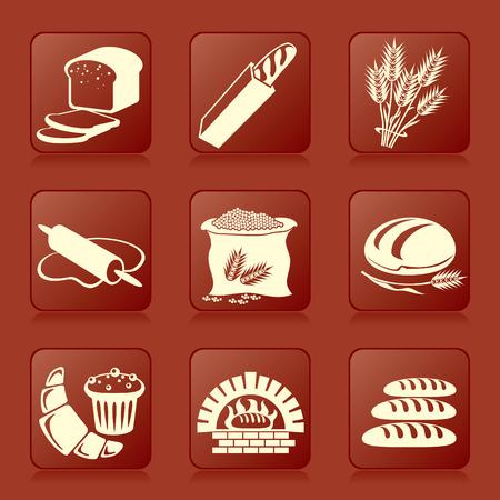 set van vector silhouet iconen van brood en gebak