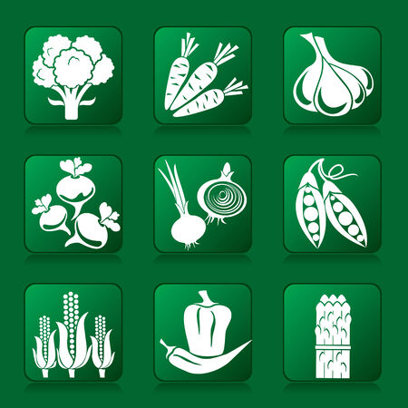 peas: set of vector silhouette icons of vegetables.
