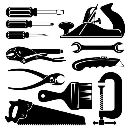 herramientas carpinteria: conjunto de iconos de la silueta de herramientas de mano